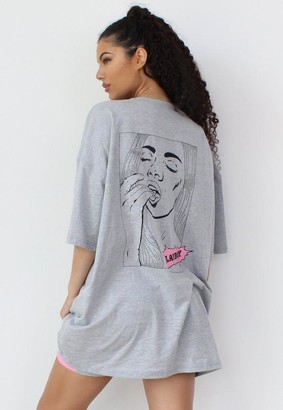 Missguided Playboy X Gray Comic Graphic T Shirt Dress