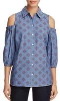 Foxcroft Tyra Cold-Shoulder Shirt