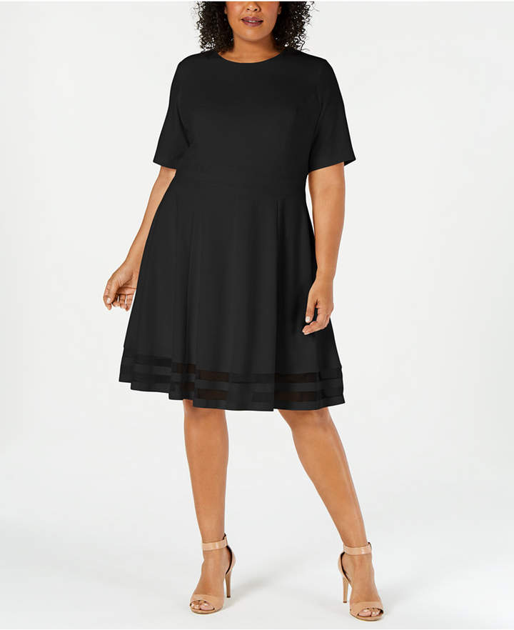 Illusion Plus Size Line Dress Trim A AqjL345R
