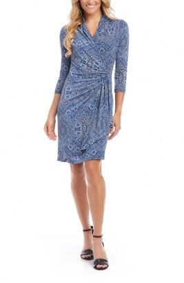 Karen Kane Cascade Paisley Faux Wrap Dress