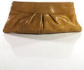 Lauren Merkin Beige Perforated Leather Pleated Clutch Handbag