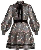 Marc Jacobs Ruffled-collar fil coupé mini dress