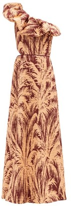 Johanna Ortiz Quiet Corners One-shoulder Cotton-blend Gown - Beige Print