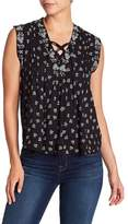 Lucky Brand Printed Lace-Up Tank