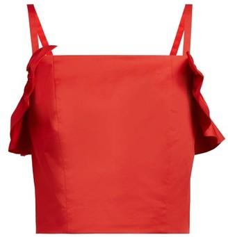STAUD Nemi Cotton-blend Ruffled Top - Red
