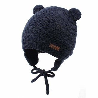 CMTOP Baby Earflap Beanie Hat Soft Knit Beanies Cute Bear Infant Toddler Girl Hats Autumn Winter Baby Hat Warm Knitted Earflap Cap Beanie Caps s for 0-3 Year Old Month Toddler Boys Girls