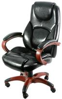 Z-Line Designs Black Leather Executive Chair with Wood Tones