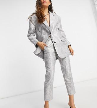 ASOS DESIGN Petite moire suit pants in metallic silver