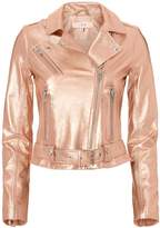 IRO Brooklyn Rose Gold Leather Moto Jacket