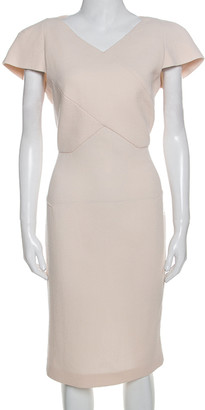 Roland Mouret Cream Wool Crepe Short Sleeve Tourney Dress L