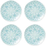 Vietri Set of 4 Lace Dessert Plates - Aqua