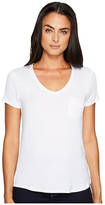 Prana Foundation Short Sleeve V-Neck Top (White) Women's T Shirt