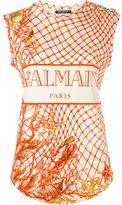 Balmain fishing net print T-shirt