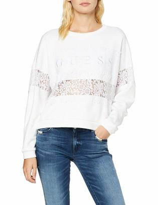 GUESS Women's Stripe Lace Fleece Sweatshirt