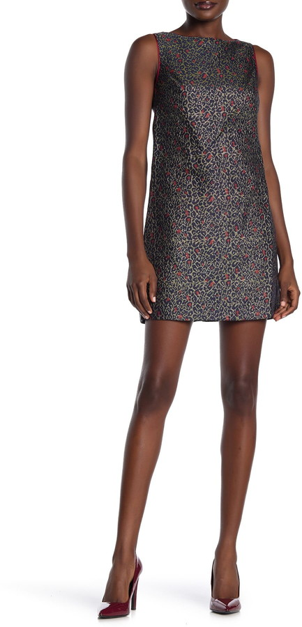 Betsey Johnson Leopard Print Jacquard Shift Dress