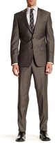 Simon Spurr Beige Sharkskin Two Button Notch Lapel Wool Regular Fit Suit