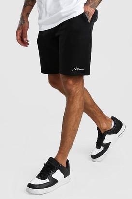 boohoo Mens Black MAN Signature Mid Length Jersey Shorts, Black
