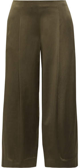 Theory Zavabell Silk-satin Wide-leg Pants - Army green