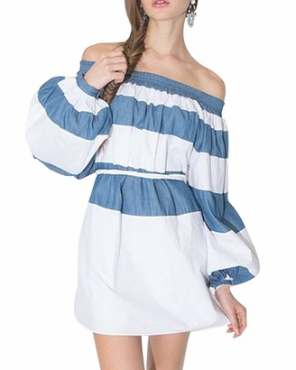 Roiii Plus Size Women Off Shoulder Striped Long Sleeve Casual Mini Dress Long Loose Shirt Party Blouse Top (18