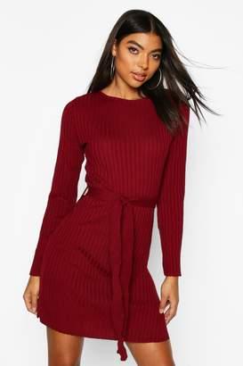 boohoo Tall Belted Rib Knit Dress