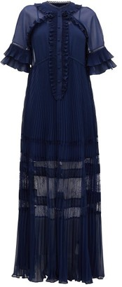 Self-Portrait Ruffle-trim Lace And Chiffon Maxi Dress - Womens - Navy