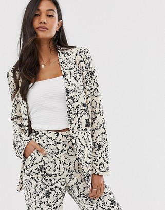 Ichi lace print suit jacket-White