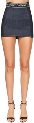 Dolce & Gabbana Logo Band Cotton Denim Mini Skirt