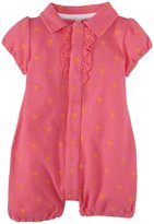 Magnificent Baby Palm Trees Pique Polo Romper (Baby) - Pink-6 Months