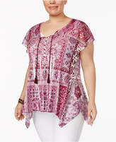 Style and Co Plus Size Handkerchief-Hem Peasant Top, Created for Macy's