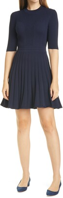 Ted Baker Olivinn Mix Stitch Fit & Flare Sweater Dress