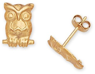 Curata 14k Yellow Gold Children's Owl Stamping Stud Earrings