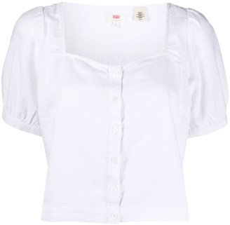 Levi's Cropped Button Blouse
