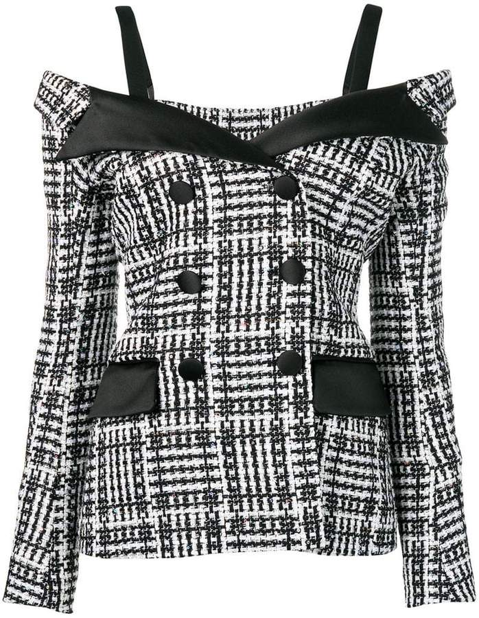 Faith Connexion fitted off-the-shoulder jacket
