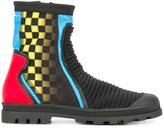 Maison Margiela printed ribbed ankle boots - men - Polyester/Leather/rubber - 40