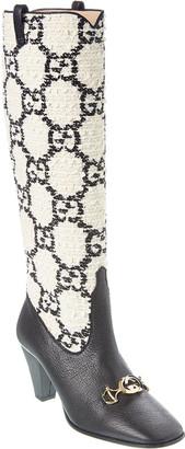 Gucci Zumi Gg Tweed & Leather Knee Boot