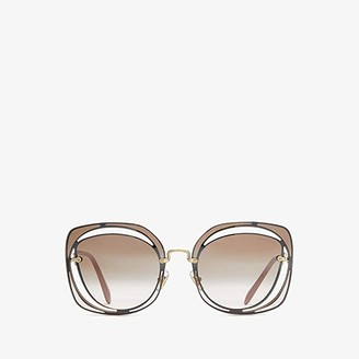 Miu Miu 0MU 54SS (Brown/Pale Gold/Gradient Brown Mirror Silver) Fashion Sunglasses