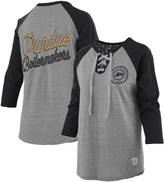 Unbranded Women's Pressbox Heathered Gray/Black Purdue Boilermakers Two-Hit Lace-Up Raglan Long Sleeve T-Shirt