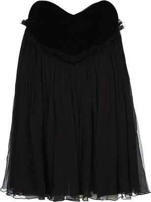 Saint Laurent Plisse Babydoll Mini Dress