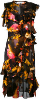 Givenchy cloud print ruffle dress - women - Silk - 38