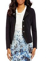 Alex Marie Jacqueline Round Neck Long Sleeve Solid Jacquard Jacket