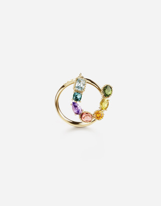 Dolce & Gabbana Rainbow Alphabet U 18 Kt Yellow Ring With Multicolor Fine Gems