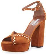 Tabitha Simmons Julieta Studded Platform Suede Sandal, Cognac