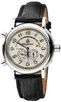 Burgmeister Nevada Bm105-112 Gents Automatic Analogue Wristwatch Black Leather Strap Silver Dial Day Date Month Year