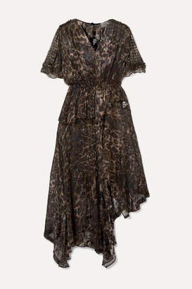 Preen by Thornton Bregazzi Esther Asymmetric Ruffled Leopard-print Devore-chiffon Dress - Black