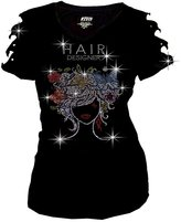 Zenana Bling Hair Designer Rhinestones T-shirt Ripped Slit Cut Out Salon Short sleeve