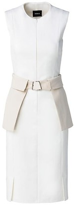 Akris Sleeveless Peplum Belted Midi Dress