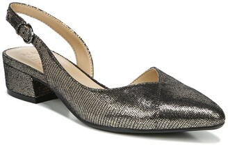Naturalizer Frisco Embossed Pointed Toe Slingback Low Block Heel - Wide Width Available