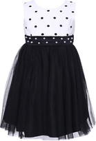 Richie House Girls' Special Occasion Dresses White - White & Black Pearl Sash Overlay Dress - Toddler & Girls
