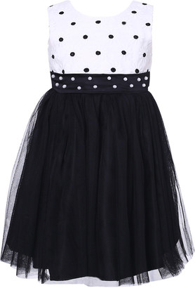 Richie House Girls' Special Occasion Dresses White - White & Black Pearl Sash Overlay Dress - Toddler