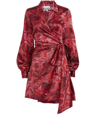 Ganni Samba Satin Tie Waist Dress